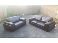 Only been used for 1yr -Endurance Leather Dark Brown 2 & 3 seater sofas