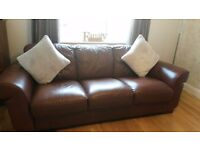2 brown leather sofas, good condition