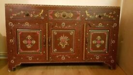 Stunning Antique Hand Painted Rajasthani Sideboard.