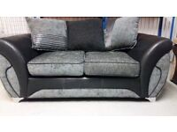 2 SEATER NEW DFS SOFA BLACK AND GREY ARMCHAIR
