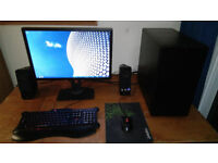Gaming PC with Monitor, Speakers, Gaming keyboard and Mouse