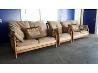 FABRIC CINTIQUE SET 2 x 2 SEATER / SOFAS WITH PILLOWS & CHAIR / ARMCHAIR CONSERVATORY CAN DELIVER