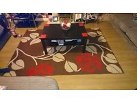 Brown, red & white rug