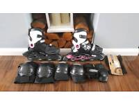 Oxelo inline skates and protection tri-pack
