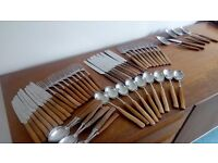 Mid Century Cutlery Set with Wooden Handles