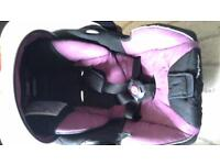 Recaro car seat with isofix base and rain cover