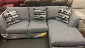 Brand New DFS Fabric sofa with chaise and an armchair