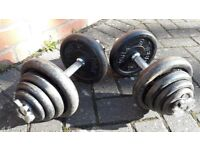 40KG YORK BARBELL CAST IRON DUMBBELL WEIGHTS SET