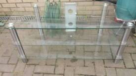 Tv Stand Tv Clear Glass 3 Shelf Very good Conidtion Like New