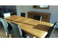 Dining room table with side board