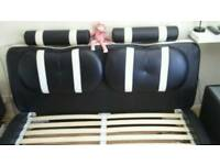 White and black leather King size bed