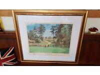 large gold framed golf picture, signed