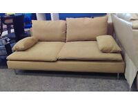 Modern beige fabric 2 seater sofa with cushions