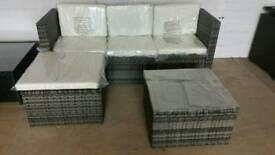 New 2 tone grey rattan set