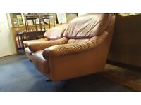 Tan Leather Swivel Chair & Matching Arm Chair