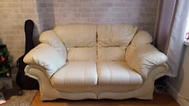 Cream Leather Sofa, good condition, from pet and smoke free home