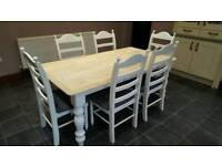 Gorgeous Chunky Legged 6ft Table and Chair Set