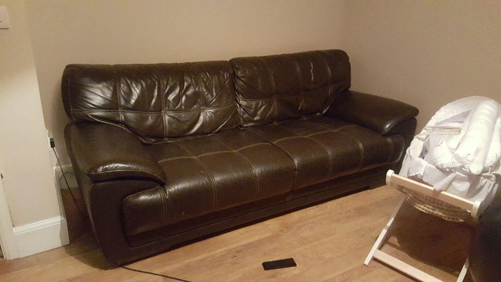 genuine violino dark brown premium leather sofa and chair ...