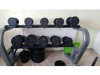 York Prostyle Dumbell Set with Physionics Dumbell and Barbell and Bench