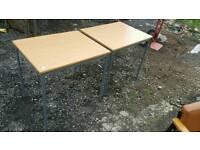 Table - Rectangular Wooden Top and Grey Metal Legs Multi Purpose Table
