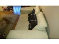 Leather sofa & matching armchair
