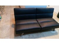 Sofa Bed Black Leather Modern & Comfortable Design New and Unused