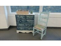 Shabby chic, distressed,white/blue solid chest of drawers.
