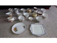 Vintage milk jugs, sugar bowls and plates for sale