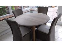 FOR SALE EX JOHN LEWIS OAK ROUND EXT TABLE 110 X 165 WITH 4 HAVANA LLOYD LOOM CHAIRS AT £750.00
