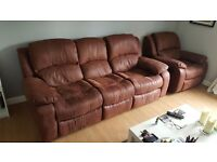 Reclining leather 3-seater sofa and chair - excellent condition