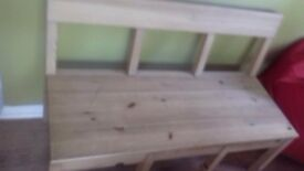 Pine bench with inside storage 42.5 length 17.5 depth