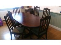Belgian Oak Dining Table and Chairs