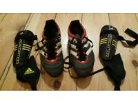 For sale is a set of the Adidas boots and Adidas Predator shin guards
