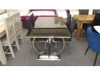 Glass Dining Table and 4 Black Greenwich Dining Chairs Can Deliver