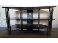 Black & Chrome Glass TV Unit Stand