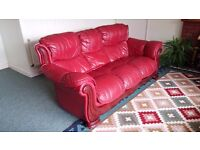 REDUCED Exceedingly comfortable 3 seater, soft leather, Sofa / settee / couch and matching armchair.