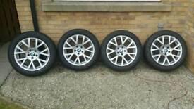 bwm 8 x 18 inch et30 alloy wheels with nearly new yokohama tyres