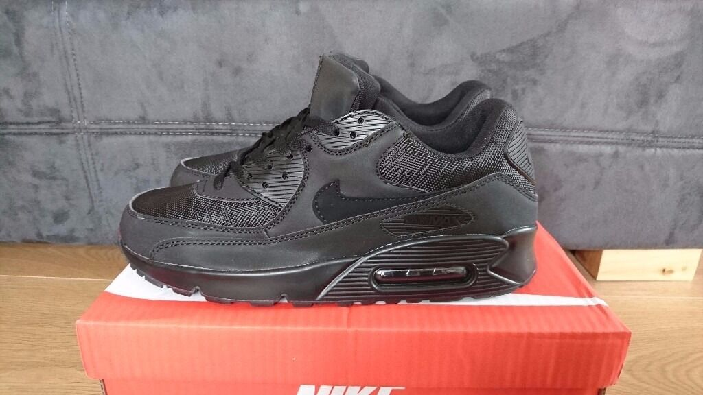 swvhi NEW NIKE AIR MAX 90 MENS SIZE 8,9,10,11 TRIPLE BLACK HYPERFUSE