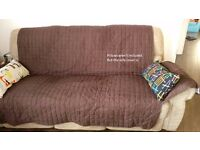 3 seater recliner sofa (brown fabric) with free the water resistant quilted sofa protector
