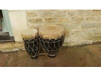 Vintage Moroccan / African Ceramic Bongo Drums with Animal Skin Tops