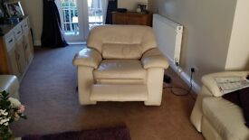 Leather 2 seater + 2 armchairs , 1 electric recliner+ footstool