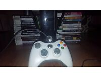 Black gloss 250 GB Xbox 360(slim) with one controller and turtle beach headset. Xbox has box.