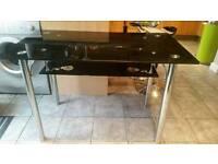 Black glass kitchen table