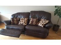 Brown leather reclining 2 -3 seater sofa