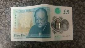 £5 note AA07