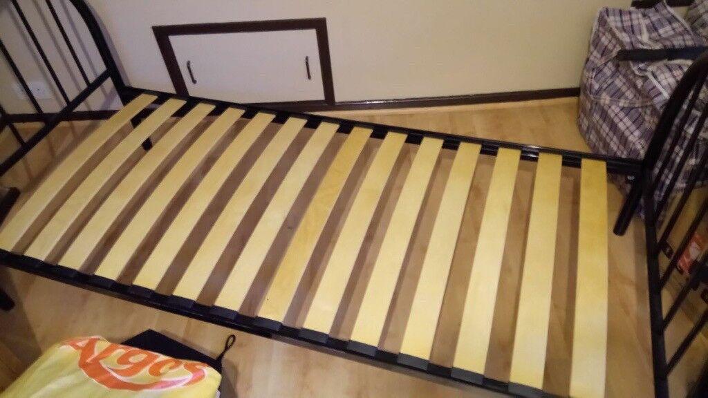 Black metal framed single bed - 25 ono