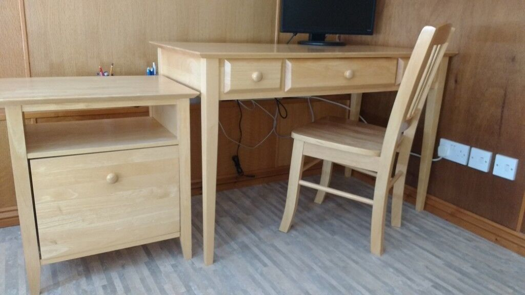 Solid Wood Home Office Or Study Desk Set Under Filing Cabinet And Chair