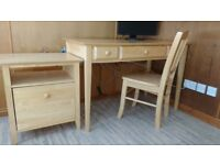 Solid wood home office or study desk set: under desk filing cabinet and chair