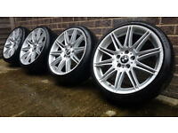 "Genuine, staggered 19"" BMW MV4 Alloy Wheels with Tyres. E36 E46 E90 E91 E92 3 Series Style 225"