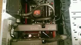 desktop Gaming pc,ROG MOTHERBOARD,amd cpu 4.2 turbo black edition,water cooled, 16gb ram ono